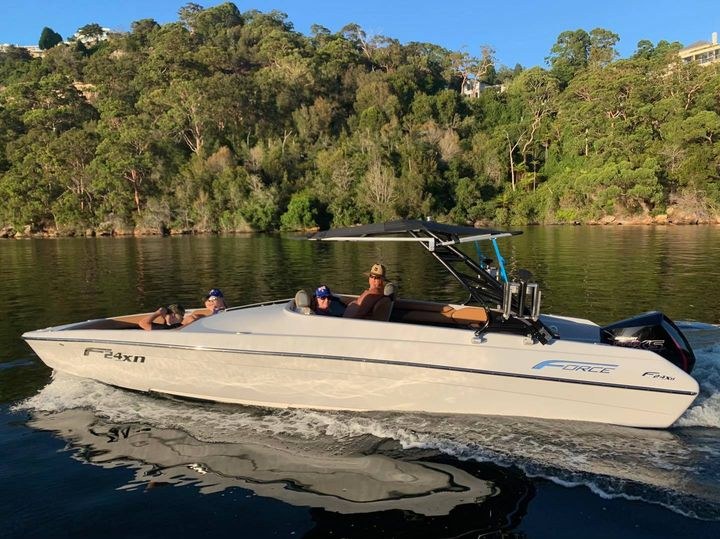 Great to see this F24XB, spending a perfect day on Sydney Harbour. The extended Bimini gives plenty of shade, and plenty of room for the whole family.