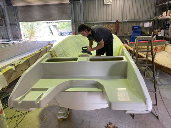 Check out the all new F24 outboard rear boarding and swim area!   One of our apprentices, Bejay, is putting the final touches on as it takes shape ready for the moulding process.