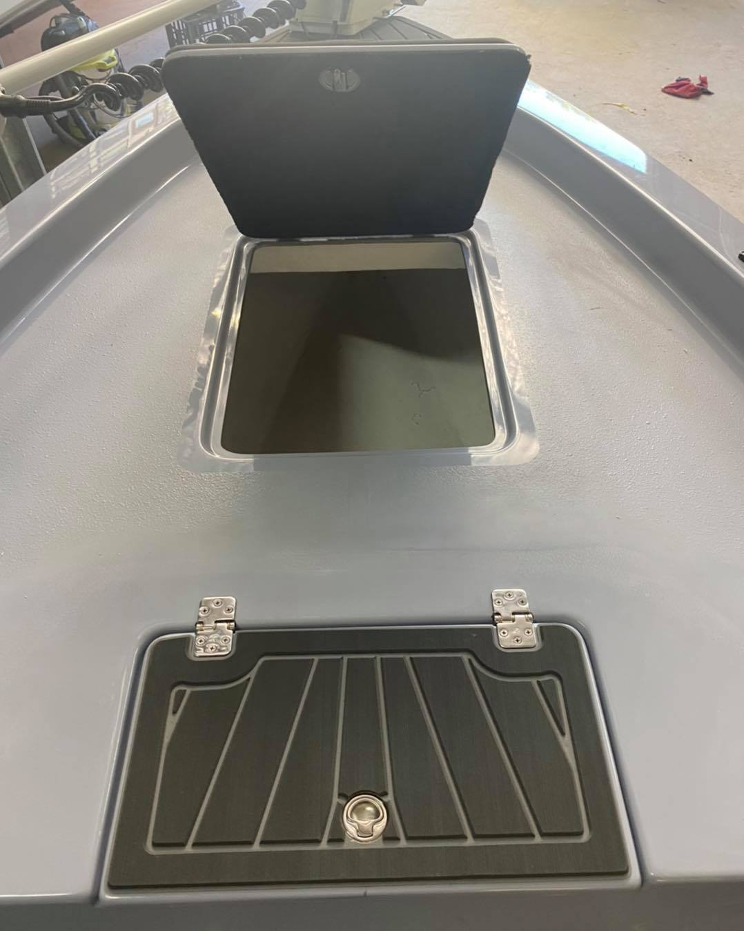 A Live Fish Well and Storage are some of the options added to our Force F13 Fisher!